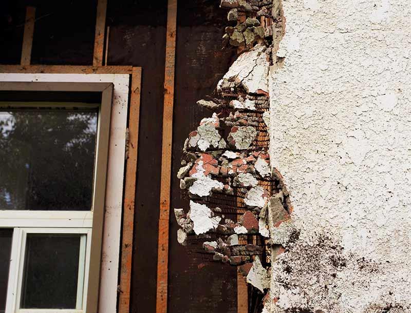 Kuva seinästä, jossa on asbestia